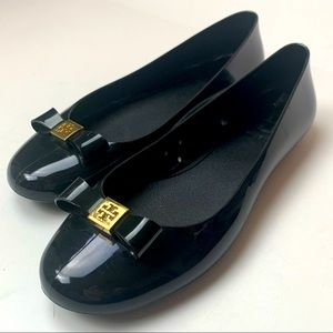 Tory Burch Black Jelly Ballet Bow Flats Size 5